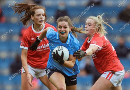 Cork vs Dublin. Dublin's Martha Byrne with Méabh Cahalane and Daire Kiely of Cork