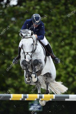 Stock Photo of Roger Yves BOST (FRA) riding Muhammad Ali VDV Z, Longines Global Champions Tour, Grand Prix of Paris Prize