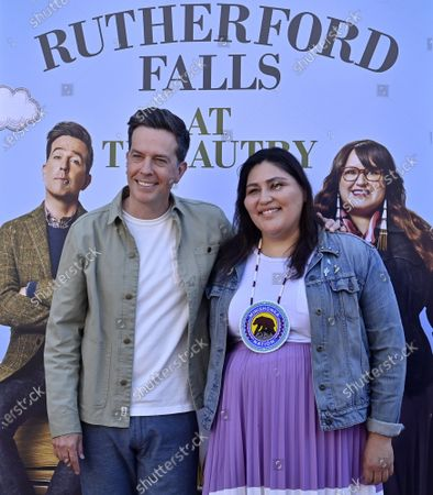 """Actor Ed Helms and writer and producer Sierra Teller Ornelas attend the Peacock Series """"Rutherford Falls"""" partnership with The Autry of the American West to celebrate Native American storytelling event at the Autry Museum of the American West in Los Angeles on Saturday, June 26, 2021."""