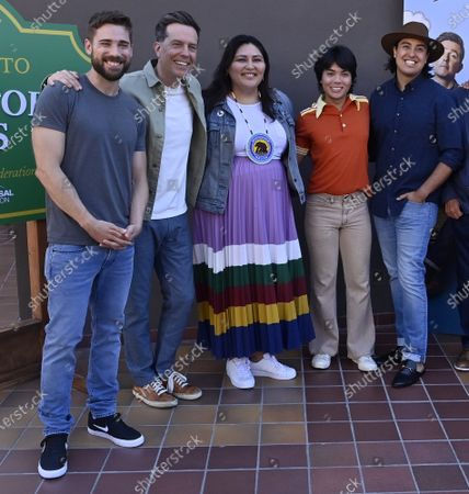 """Dustin Milligan, Ed Helms, Sierra Teller Ornelas, Jesse Leigh, Tai Leclaire and Kimberly Guerrero (L-R attend the Peacock Series """"Rutherford Falls"""" partnership with The Autry of the American West to celebrate Native American storytelling event at the Autry Museum of the American West in Los Angeles on Saturday, June 26, 2021."""