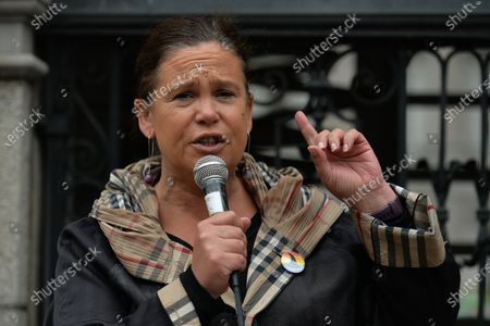 Sinn Fein leader Mary Lou McDonald addresses the crowd outside Leinster House in Dublin, campaigning against the Catholic Church owning the new National Maternity Hospital (NHM) and demending that the NMH be in public ownership. On Saturday, 26 June 2021, in Dublin, Ireland.