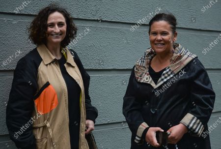 Sinn Fein leader Mary Lou McDonald (R) and Lynn Boylan (L) seen outside Leinster House in Dublin, campaigning against the Catholic Church owning the new National Maternity Hospital (NHM) and demending that the NMH be in public ownership. On Saturday, 26 June 2021, in Dublin, Ireland.