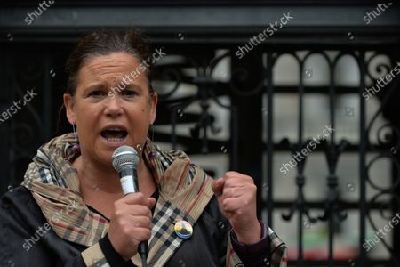 Stock Image of Sinn Fein leader Mary Lou McDonald addresses the crowd outside Leinster House in Dublin, campaigning against the Catholic Church owning the new National Maternity Hospital (NHM) and demending that the NMH be in public ownership. On Saturday, 26 June 2021, in Dublin, Ireland.