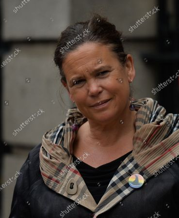 Stock Photo of Sinn Fein leader Mary Lou McDonald seen outside Leinster House in Dublin, campaigning against the Catholic Church owning the new National Maternity Hospital (NHM) and demending that the NMH be in public ownership. On Saturday, 26 June 2021, in Dublin, Ireland.