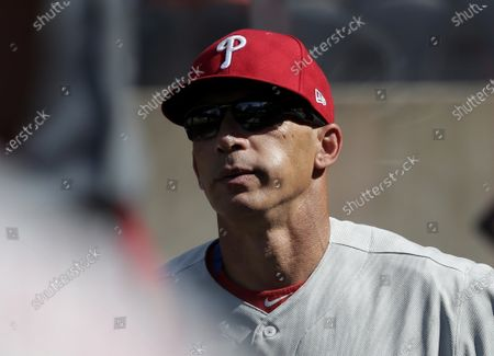 Philadelphia Phillies manager Joe Girardi stands in the dug out before the game against the New York Mets at Citi Field on Saturday, June 26, 2021 in New York City.