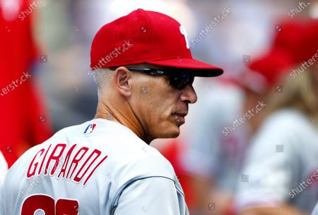 Philadelphia Phillies manager Joe Girardi (25) in the visitors dugout before game against the New York Mets, in New York
