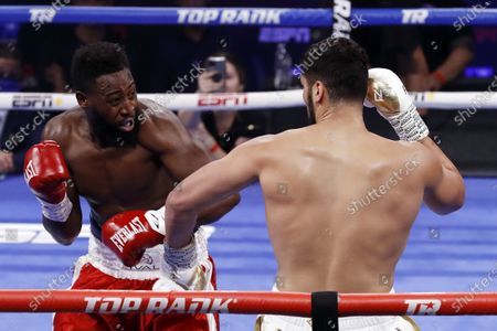 Stock Picture of Marlon Williams of the USA (L) in action against Guido Vianello of Italy during their 4 rounds heavyweight fight at The Theater at Virgin Hotels in Las Vegas, Nevada, USA, 26 June 2021.