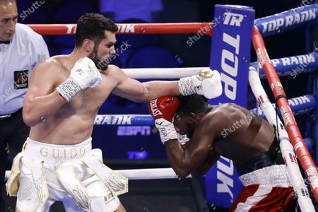 Guido Vianello of Italy (L) in action against Marlon Williams of the USA during their 4 rounds heavyweight fight at The Theater at Virgin Hotels in Las Vegas, Nevada, USA, 26 June 2021.