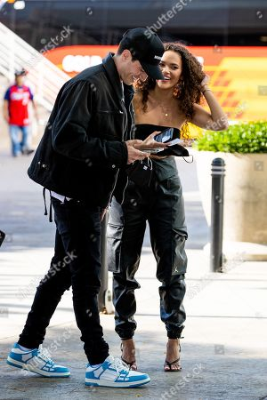 Madison Pettis seen arriving to Staples Center for a playoff basketball game with a mystery man