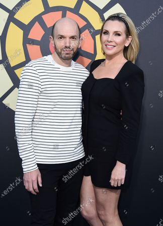 Paul Scheer, left, and June Diane Raphael arrive at CTAOP's Night Out 2021: Fast and Furious, at the Universal Studios Backlot in Los Angeles