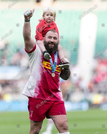 Joe Marler of Harlequins celebrates following his side's victory after the Gallagher Premiership match between Exeter Chiefs and Harlequins at Twickenham Stadium, Twickenham on Saturday 26th June 2021.