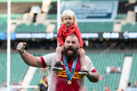 Joe Marler of Harlequins with his daughter gestures after the Gallagher Premiership match between Exeter Chiefs and Harlequins at Twickenham Stadium, Twickenham on Saturday 26th June 2021.