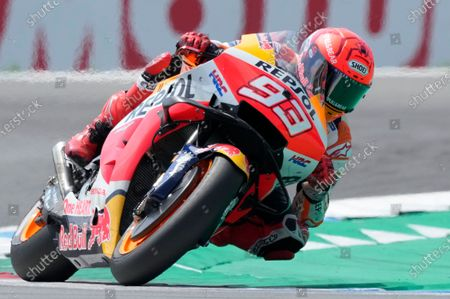 Honda rider Marc Marquez of Spain competes during the MotoGP race at the Dutch Grand Prix in Assen, northern Netherlands