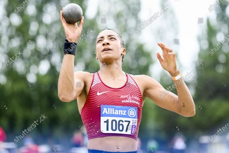 Belgian athlete Nafissatou 'Nafi' Thiam pictured in action during the shot put event at the Belgian athletics championships, Sunday 27 June 2021 in Brussels.