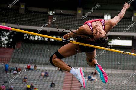 Belgian Nafissatou Nafi Thiam pictured in action during the high jump event, at the Belgian athletics championships, Sunday 27 June 2021 in Brussels.