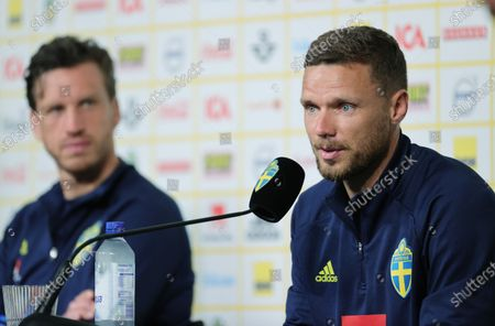 Sweden's Gustav Svensson (L) and Marcus Berg of the national soccer team attend a press conference in Gothenburg, Sweden, 27 June 2021. Sweden will face Ukraine in their UEFA EURO 2020 Round of 16 soccer match on 29 June.