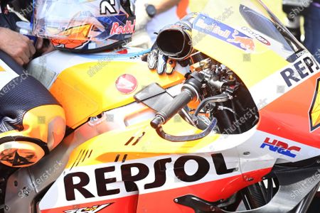 Stock Picture of TT CIRCUIT ASSEN, NETHERLANDS - JUNE 27: Pol Espargaro, Repsol Honda Team, handlebar during the Dutch GP at TT Circuit Assen on Sunday June 27, 2021 in ASSEN, Netherlands. (Photo by Gold and Goose / LAT Images)
