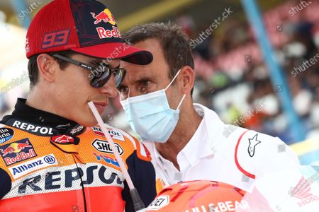 Stock Picture of TT CIRCUIT ASSEN, NETHERLANDS - JUNE 27: Marc Marquez, Repsol Honda Team, Alberto Puig, Repsol Honda Team Team Principal race during the Dutch GP at TT Circuit Assen on Sunday June 27, 2021 in ASSEN, Netherlands. (Photo by Gold and Goose / LAT Images)