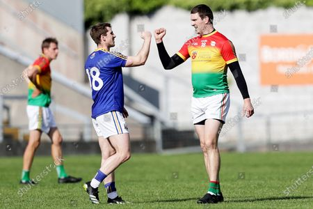 Stock Picture of Carlow vs Longford. Longford's Daniel Mimnagh shakes hands with Conor Lawlor of Carlow after the game