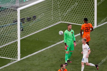 Netherlands' goalkeeper Maarten Stekelenburg, 1, reacts after conceding their second goal during the Euro 2020 soccer championship round of 16 match between the Netherlands and Czech Republic at the Ferenc Puskas stadium in Budapest