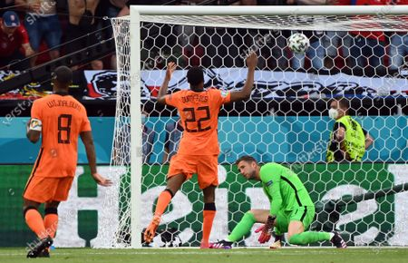 Goalkeeper Maarten Stekelenburg of the Netherlands (R) concedes the 0-2 during the UEFA EURO 2020 round of 16 soccer match between the Netherlands and the Czech Republic in Budapest, Hungary, 27 June 2021.