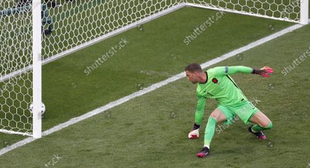 Netherlands goalkeeper Maarten Stekelenburg concedes Czech Republic's 2-0 lead during the UEFA EURO 2020 round of 16 soccer match between the Netherlands and the Czech Republic in Budapest, Hungary, 27 June 2021.