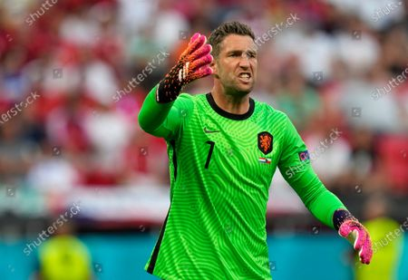 Stock Photo of Netherlands' goalkeeper Maarten Stekelenburg gestures during the Euro 2020 soccer championship round of 16 match between Netherlands and Czech Republic at the Ferenc Puskas stadium in Budapest, Hungary
