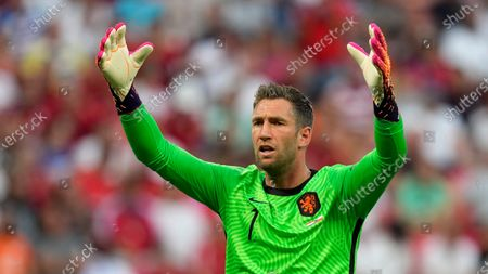 Netherlands' goalkeeper Maarten Stekelenburg gestures during the Euro 2020 soccer championship round of 16 match between Netherlands and Czech Republic at the Ferenc Puskas stadium in Budapest, Hungary