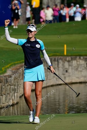 Nelly Korda of the U.S. celebrates after winning the KPMG Women's PGA Championship golf tournament, in Johns Creek, Ga