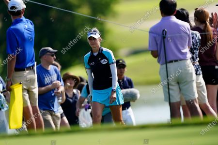 Nelly Korda of the U.S. walks to the 18th hole during the final round of play in the KPMG Women's PGA Championship golf tournament, in Johns Creek, Ga