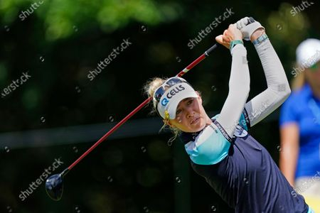 Nelly Korda Dottie Adrina, hits from the ninth hole during the final round of play in the KPMG Women's PGA Championship golf tournament, in Johns Creek, Ga