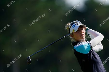 Nelly Korda of the U.S. tees off on the 18th hole during the final round of play in the KPMG Women's PGA Championship golf tournament, in Johns Creek, Ga