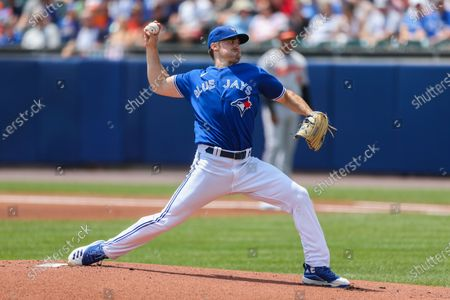 Toronto Blue Jays starting pitcher Ross Stripling throws during the first inning of a baseball game against the Baltimore Orioles in Buffalo, N.Y