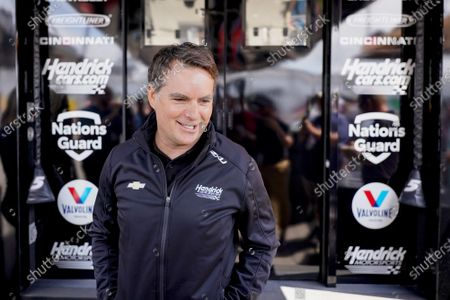 Former Nascar driver Jeff Gordon speaks at a news conference outside a Hendrick Motorsports trailer before the scheduled races at Pocono Raceway, in Long Pond, Pa. It was announced Wednesday that Gordon was leaving the Fox Sports broadcast booth to become vice chairman at Hendrick Motorsport