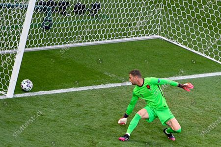 Goalkeeper Maarten Stekelenburg of the Netherlands concedes a goal during the UEFA EURO 2020 round of 16 soccer match between the Netherlands and the Czech Republic in Budapest, Hungary, 27 June 2021.