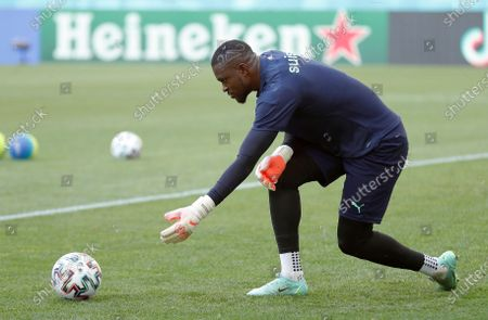 Switzerland's goalkeeper Yvon Mvogo attends an official training session at National Arena stadium, in Bucharest, Romania, 27 June 2021. Switzerland will face France in their Round of 16 UEFA Euro 2020 soccer match, in Bucharest, on June 28.