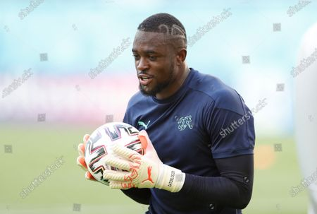 Stock Image of Switzerland's goalkeeper Yvon Mvogo attends an official training session at National Arena stadium, in Bucharest, Romania, 27 June 2021. Switzerland will face France in their Round of 16 UEFA Euro 2020 soccer match, in Bucharest, on June 28.