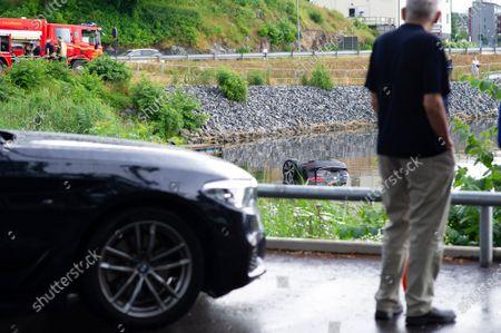Editorial photo of Car driven into the sea, Gustavsberg, Sweden - 27 Jun 2021