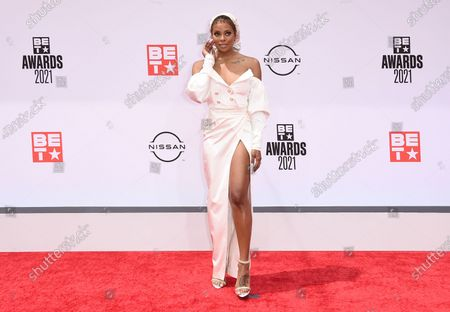 Eva Marcille arrives at the BET Awards, at the Microsoft Theater in Los Angeles