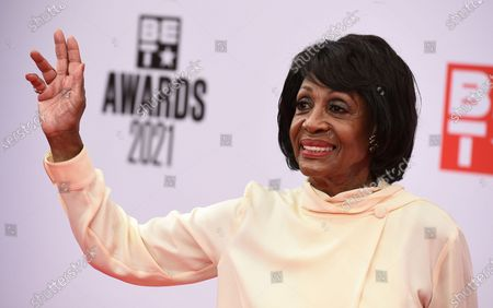 Rep. Maxine Waters, D-Calif. arrives at the BET Awards, at the Microsoft Theater in Los Angeles