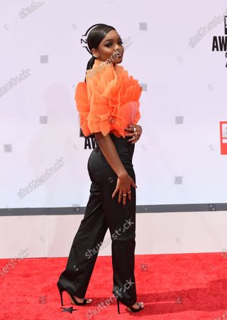 Marsai Martin arrives at the BET Awards, at the Microsoft Theater in Los Angeles