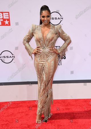 Ashanti arrives at the BET Awards, at the Microsoft Theater in Los Angeles