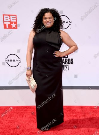 Michelle Buteau arrives at the BET Awards, at the Microsoft Theater in Los Angeles