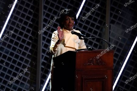 Rep. Maxine Waters, D-Calif. speaks before a performance by Jazmine Sullivan at the BET Awards, at the Microsoft Theater in Los Angeles