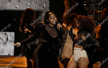 Jazmine Sullivan performs at the BET Awards, at the Microsoft Theater in Los Angeles