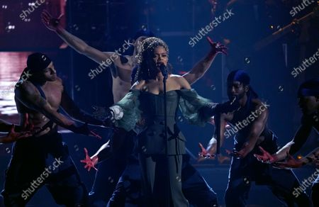 Andra Day performs at the BET Awards, at the Microsoft Theater in Los Angeles