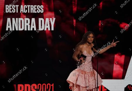 Andra Day accepts the best actress award at the BET Awards, at the Microsoft Theater in Los Angeles