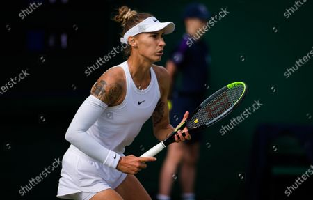 Polona Hercog of Slovenia in action during the first round of the 2021 Wimbledon Championships Grand Slam tennis tournament