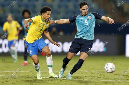 (210628) - GOIANIA, June 28, 2021 (Xinhua) - Brazil's Marquinhos (L) lives with Ecuador's Leonardo Campana during the 2021 Copa America group B football match between Brazil and Ecuador in Goiania, Brazil, on June 27, 2021.