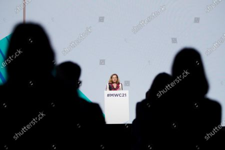 Spanish Economy Minister Nadia Calvino delivers a speech during the opening day of the Mobile World Congress at the Fira in Barcelona, Spain, 28 June 2021. The MWC will be held from 28 June to 01 July 2021.